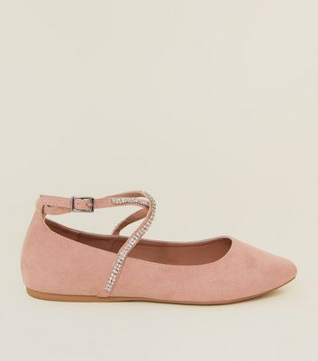 Wide Fit Nude Suedette Diamanté Cross Strap Pumps