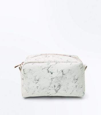 White Marble Effect Oversized Make Up Bag by New Look