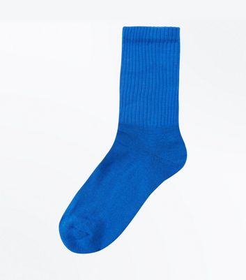 Bright Blue Ribbed Sports Socks