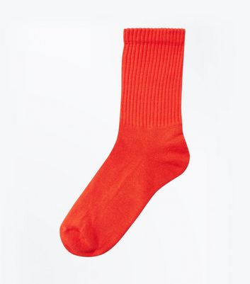 Red Ribbed Sports Socks