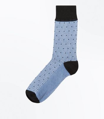 Blue Dot and Stripe Socks