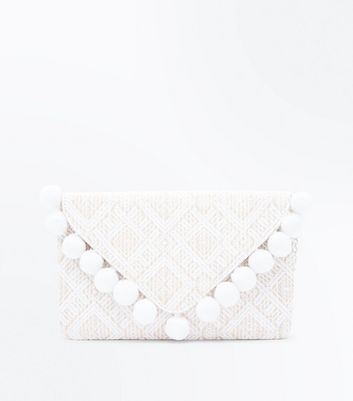 White and Gold Pom Pom Trim Envelope Clutch