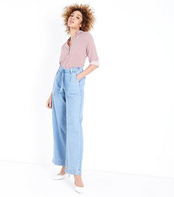 Blue Light Wash Tie Waist Wide Leg Jeans