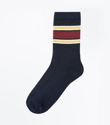 Navy and Mustard Stripe Socks