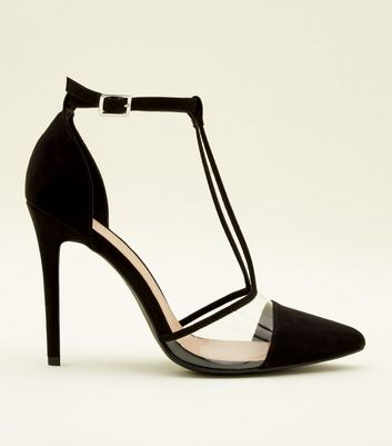 Black and Clear Pointed T-Bar Stiletto Heels