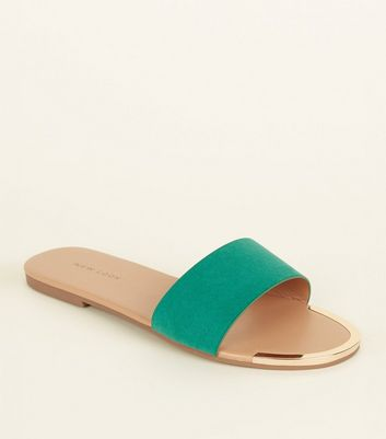 Green Suedette Metal Trim Sliders by New Look