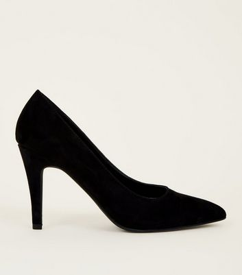 Black Suedette Pointed Court Shoe