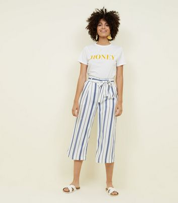 White Stripe Tie Waist Cropped Trousers