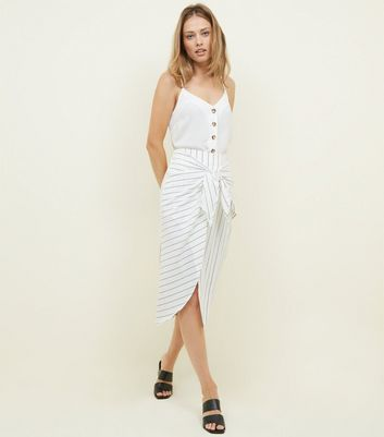 White Stripe Tie Front Linen-Look Midi Skirt