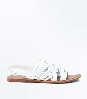 White Leather Cross Plait Flat Sandals