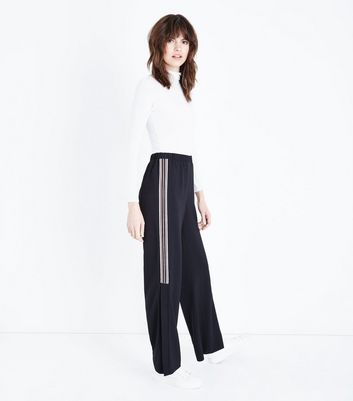 Black Side Stripe Split Hem Trousers
