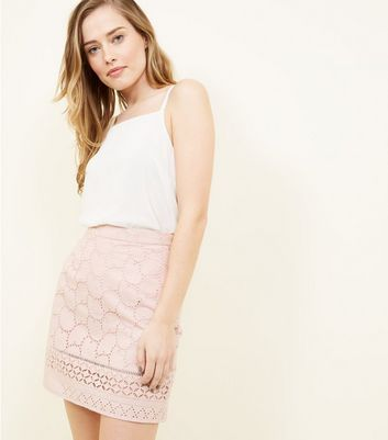 Pale Pink Cut-Out Embroidered Skirt