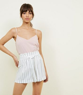 White Stripe Linen-Look Tie Waist Shorts