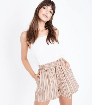 Brown Stripe Tie Waist Shorts