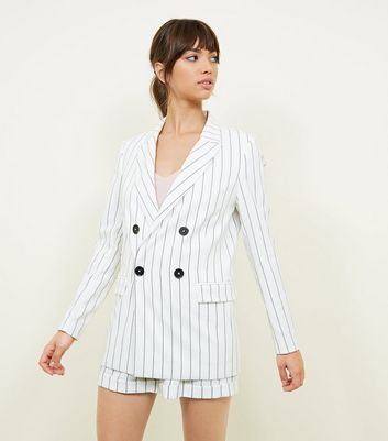 White Stripe Linen-Look Double Breasted Blazer