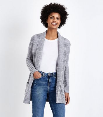 Pale Grey Ribbed Longline Cardigan