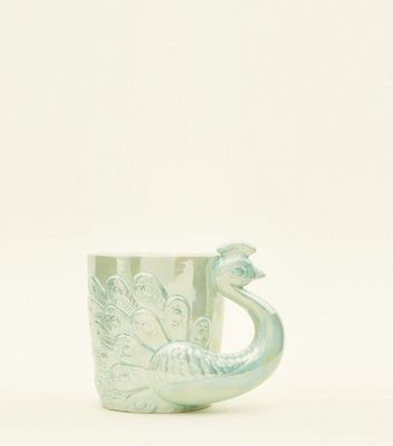 Mint Green Glazed Peacock Mug