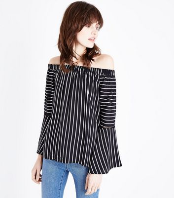 Apricot Black Stripe Bell Sleeve Bardot Top