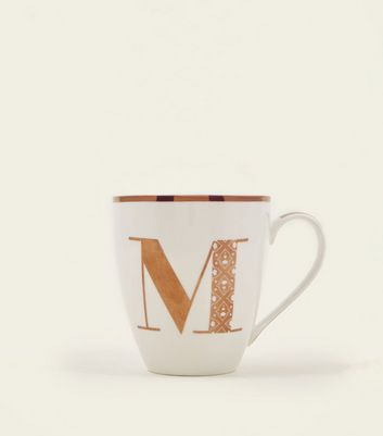 White Metallic M Letter Mug