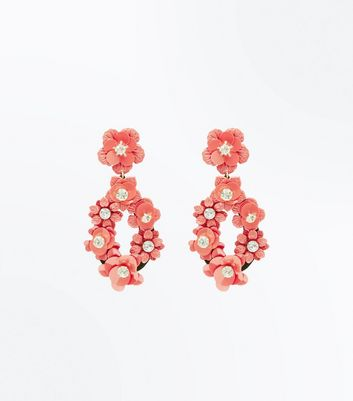 Red Sequin Flower Oval Drop Earrings