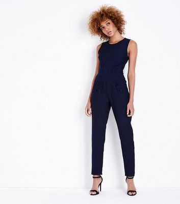 Mela Navy Floral Applique Jumpsuit