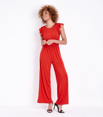 Mela Red Frill Sleeve Jumpsuit