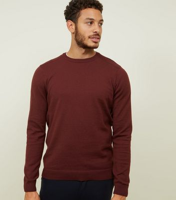Dark Red Crew Neck Jumper