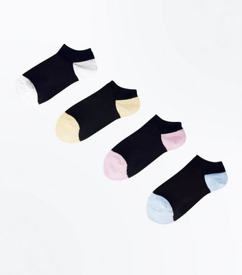 4 Pack Black Pastel Colour Block Trainer Socks by New Look