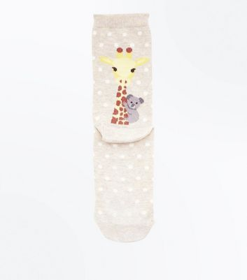 Cream Giraffe and Koala Bear Back Socks
