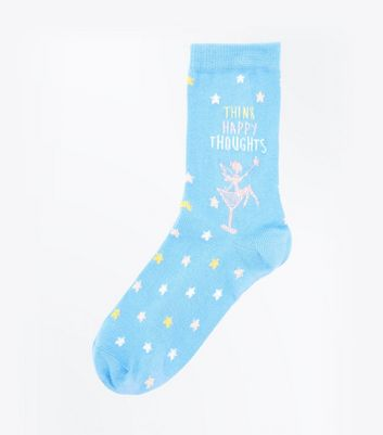 Pale Blue Happy Thoughts Slogan Socks