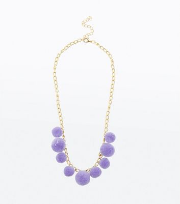 Lilac Pom Pom Necklace