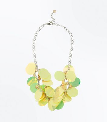 Yellow Sequin Disc Necklace