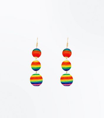Rainbow Textured Orb Drop Earrings