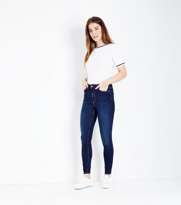 Dark Blue Rinse Wash High Rise Skinny Dahlia Jeans