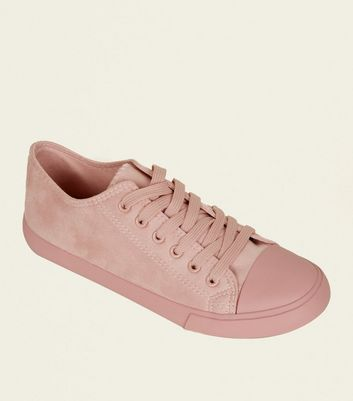 Pink Suedette Lace-Up Trainers