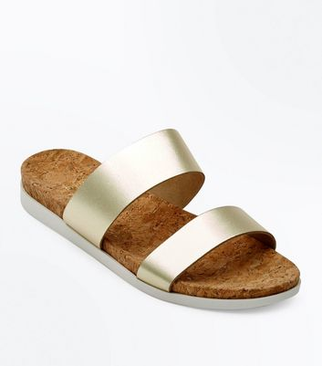 Wide Fit Gold Leather Double Strap Sliders