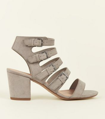 Girls Grey Suedette Buckle Strap Gladiator Sandals