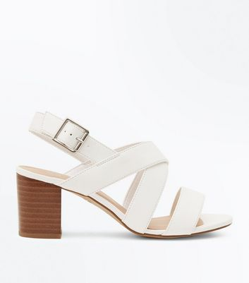 Girls White Strappy Block Heel Sandals