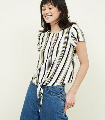 White Stripe Tie Front Short Sleeve Top