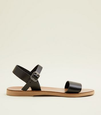 Teens Black Leather Sandals