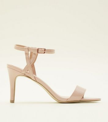 Nude Patent Twist Strap Mid Heel Sandals by New Look