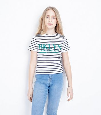 Teens White Stripe BKLYN T-Shirt