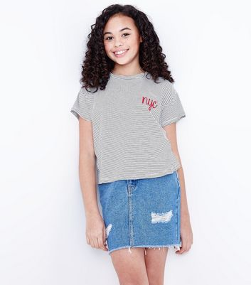 Teens White Stripe NYC Embroidered Front T-Shirt