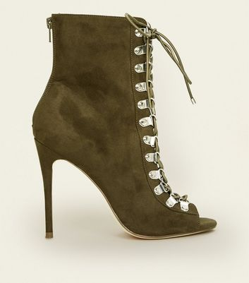Khaki Suedette Lace Up Peep Toe Stilettos