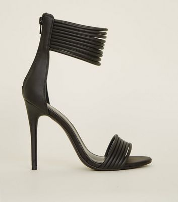 Black Leather-Look Tube Strap Stiletto Sandals