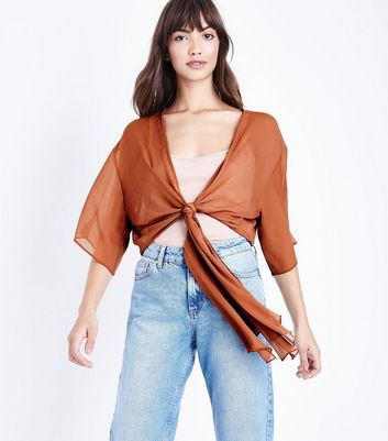 Rust Chiffon Tie Front Cover Up