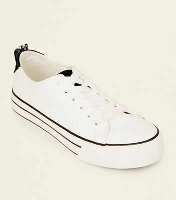 White Leather-Look Stripe Flatform Sole Trainers