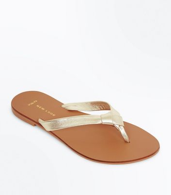 Wide Fit Gold Leather Knot Strap Flip Flops