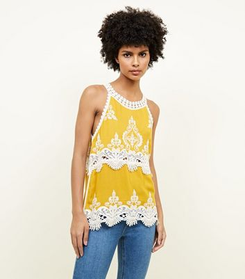Tall Mustard Crochet Trim Sleeveless Top
