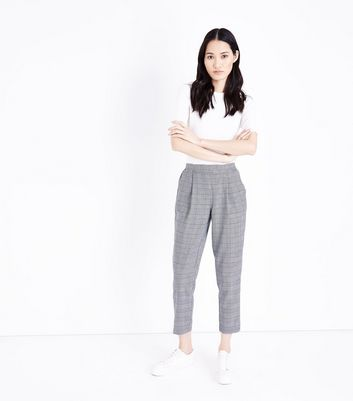 Black Check High Waist Tapered Trousers